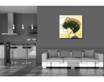 Anime Manga Cowboy Bebop Spike and Ein Inspired Wall Art Gift - High Quality Print on Poly-Matte Canvas 14inch x 14inch x 18mm