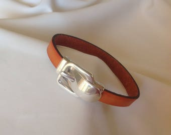 Burnt orange leather bracelet