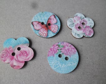 x 5 mixed buttons wood 2 hole 25 mm Flower/Butterfly pink/blue