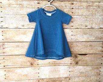 Blue dress // tshirt dress // swing dress // baby dress // toddler dress // play dress