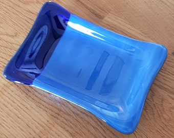 Glass soap dish.  Unique, modern, fused glass in blue tones. Perfect gift. Bathroom or cloakroom.