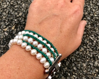 Multistrand white freshwater pearls and green crystals bracelet with silver clasp- bold, statement pearl bracelet - gift for her