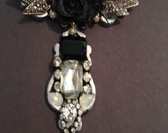 Vintage  Cross-Shaped Rhinestone Pendant