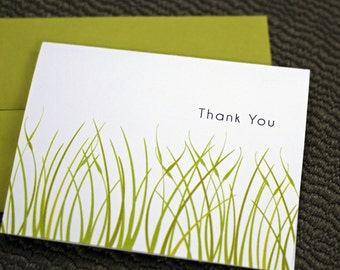Note Cards - Thank You Cards - Folded Note Cards - Growing - Grass - School - Teacher Thank You - Personalized - Customized