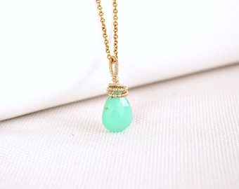 Chrysoprase pendant, green gold pendant, May birthstone, artisan jewelry, wire wrapped pendant, Valentine's day gift