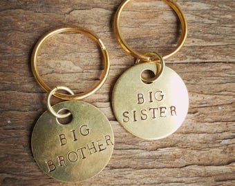 Big Brother Big Sister Dog Tags, New Baby Dog tag, Birth announcement pet, big brother dog tag, big sister dog tag, brass, baby shower gift