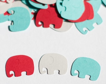 Elephant Confetti - Red, Aqua and Light Gray -  Baby Shower Decoration - Table Sprinkles