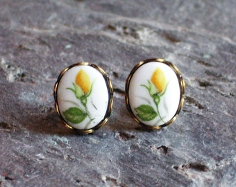 Yellow rose cameo earrings, glass flower studs, vintage cameo post earrings, floral earrings, gift ideas for her, unique holiday gift