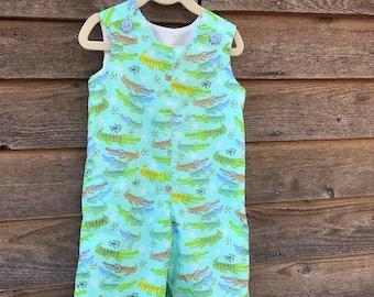 Toddler Boys' Summer Alligator Jon Jon, Summer John John, Baby Boy John John, Baby Boy Alligator Overalls, 6m, 9m, 12m, 18m, 2T, 3T