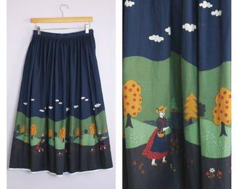 Vintage 1980's Austrian Forest Scene Print Skirt S/M