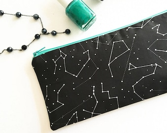 Celestial Wedding, Zodiac Her, Celestial Skies Zipper Pouch, Constellation Gift for Women, Cosmetic Bag, Zodiac Wedding, Zodiac Sign Gift