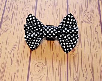 Bow Tie Dog Collar Accessory Black Hearts