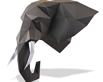 ELEPHANT HEAD | Pre-cut parts kit | low-polygonal style | DIY | Papercraft