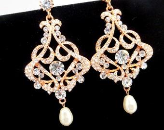 Bridal chandelier earrings, Rose gold Wedding earrings, Pink gold earrings, Bridal jewelry, Rhinestone earrings, Art Deco, Zirconia VICTORIA