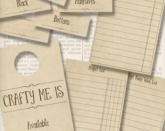 Craft Room Kit Printable Labels Organization Set digital download organizing instant download digital collage sheet - VDKIVI1288