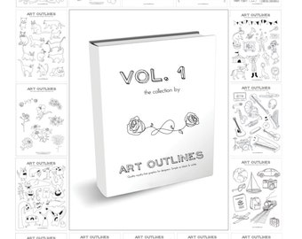 Art Outlines Volume 1: Complete Collection of 500 Original Hand Drawn Outline Only Vector Illustrations & Designs