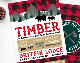 Lumberjack Invite, Boys Birthday Party, Rustic Birthday, Lumberjack Birthday, Camping Invitation, Bear Invite, Printable Invite, #46