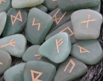 Hand Engraved Adventurine Rune Stones