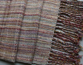 "Handwoven Hand-dyed Wrap/Shawl with Twisted Fringe, Sandstone Cream - 86""x15"""