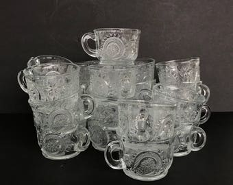 23 US Glass or LE Smith Punch Cups Slewed Horseshoe Pattern or Pinwheel & Stars Pressed Glass