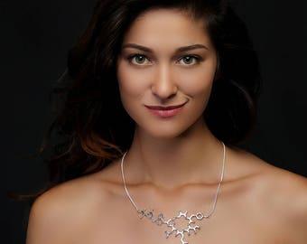LOVE / Oxytocin Molecule - Molecule Necklace - Oxytocin Necklace - Science Jewelry - Molecule Jewelry - Boho - Yoga - Mom Gift - Bridesmaid