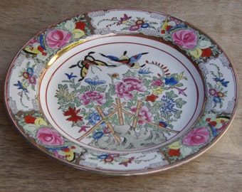 Antique Chinese Rose Medallion porcelain plate Hand painted and gold accent Rare Vintage Collectible