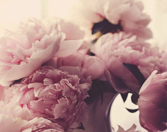 Fine Art Photography Pink Peonies Nature Photography Archival Print White Pink Flower Photography