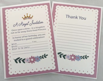 Princess Birthday Party Invitations and Thank You Notes Set