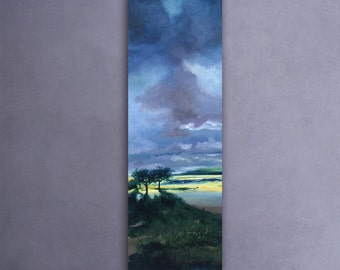 Dawn on the land. Landscape painting, oil painting, orignal painting. Green painting