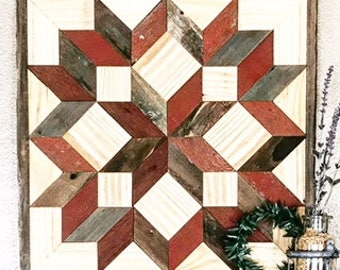 Rustic Reclaimed Wood Quilt Square, Traditional Carpenters Star Quilt Square, Wooden Quilt Block