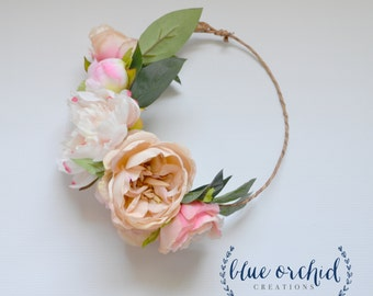 Peony Flower Crown, Flower Crown, Silk Flower Crown, Blush Flower Crown, Boho Wedding Crown, Wedding Crown, Beige, Pink, Boho Wedding