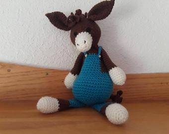 Donkey, crocheted stuffed animal, baby shower gift