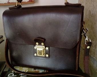 90s Messenger Bag / Leather Handbag / Leather Briefcase / Shoulder Bag / Unisex Bag / Leather Shoulder Bag