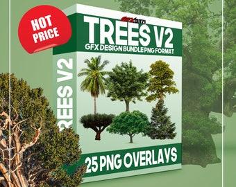 Trees Vol. 2 - GFX Design Bundle PNG Format - No Background Images