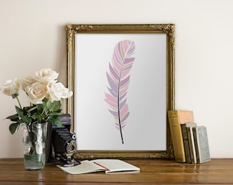 PRINTABLE Art Pink Feather Print Feather Art Feather Print Tribal Feather Nursery Print Nursery Art Baby Girl Room Home Decor