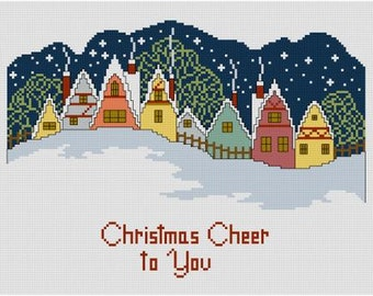 Christmas Cheer winter scene cross stitch pattern PDF snow covered houses