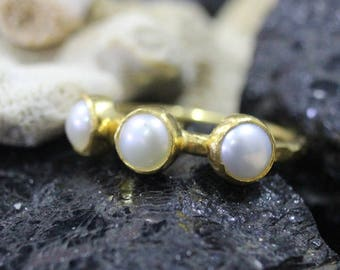 Tria Fresh Water Pearl Stack Ring Handmade 925K Sterling Silver Ring 18K Gold Plated Over Silver