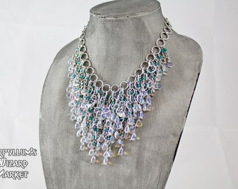Teal Crystal and AB Glass Teardrop Fringe Statement Necklace Jewelry
