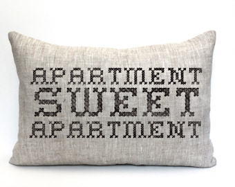 "housewarming gift, wedding gift, apartment pillow, funny pillow, christmas gift  ""The Apartment"""