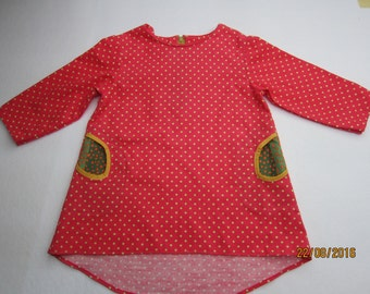 Baby Pinafore, Strawberry dreams Dress for Girls, US size 6 mo, Baby tunica Made to Order
