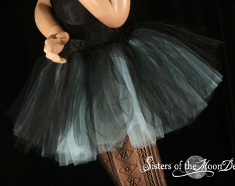 two tone tutu adult skirt dance black aqua extra poofy petticoat roller derby rave run costume -You Choose Size -- Sisters of the Moon