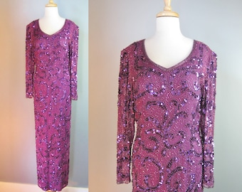 Purple Beaded Gown / Vtg 80s / Twilight Connection Long Sleeve Silk Beaded Gown Size 12