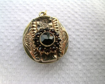 Lovely unusual upcycled shabby chic vintage assemblage gold tone and garnet pendant