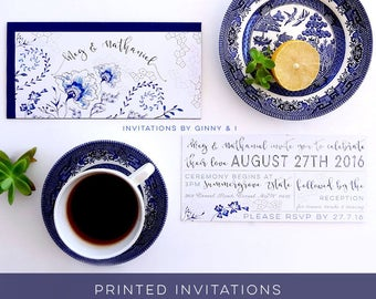 Wedding Invitation, Wedding Invitation Printed, Printed Wedding Invitation, Wedding Invitations, Wedding Invites, Custom Invitations, Blue