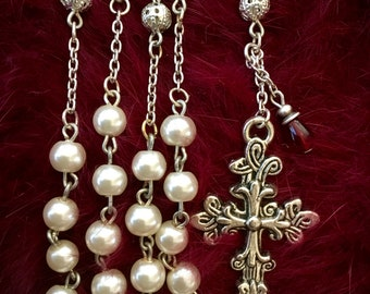 Catholic Rosary, White 6mm Glass Pearl/Silver Filigree, Five Decade Traditional Rosary