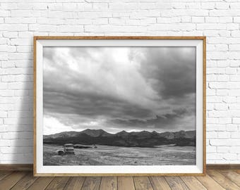 """landscape, black and white photography, large art, printable, art, instant download printable art, mountain art - """"Storm in the Mountains"""""""