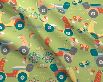 Scooter Fabric - Vespa Scooter By Gnoppoletta - Vespa Scooter Butterfly Flowers Green Red Yellow Cotton Fabric By The Yard With Spoonflower