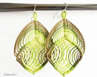 Leaf earrings, woodland earrings, forest earrings, festival earrings, lightweight earrings, large earrings