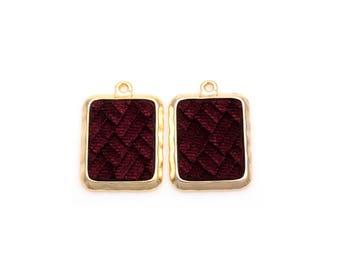 2pcs - Burgundy Velvet Square Pendant in Polish Gold Frame / velveteen pendant / Burgundy velvet / 16k gold plated / 20mm x 29mm / BBUG363-P