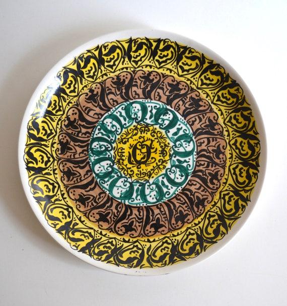 Mid Century Patterned Ceramic Serving Platter from Argentina